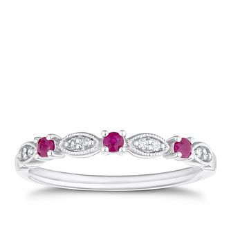 9ct White Gold Ruby & Diamond Eternity Ring - Product number 4125762