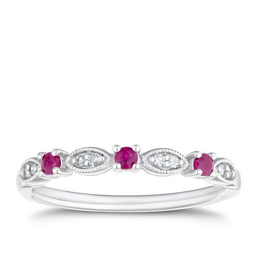 9ct White Gold Diamond & Ruby Eternity Ring - Product number 4125762