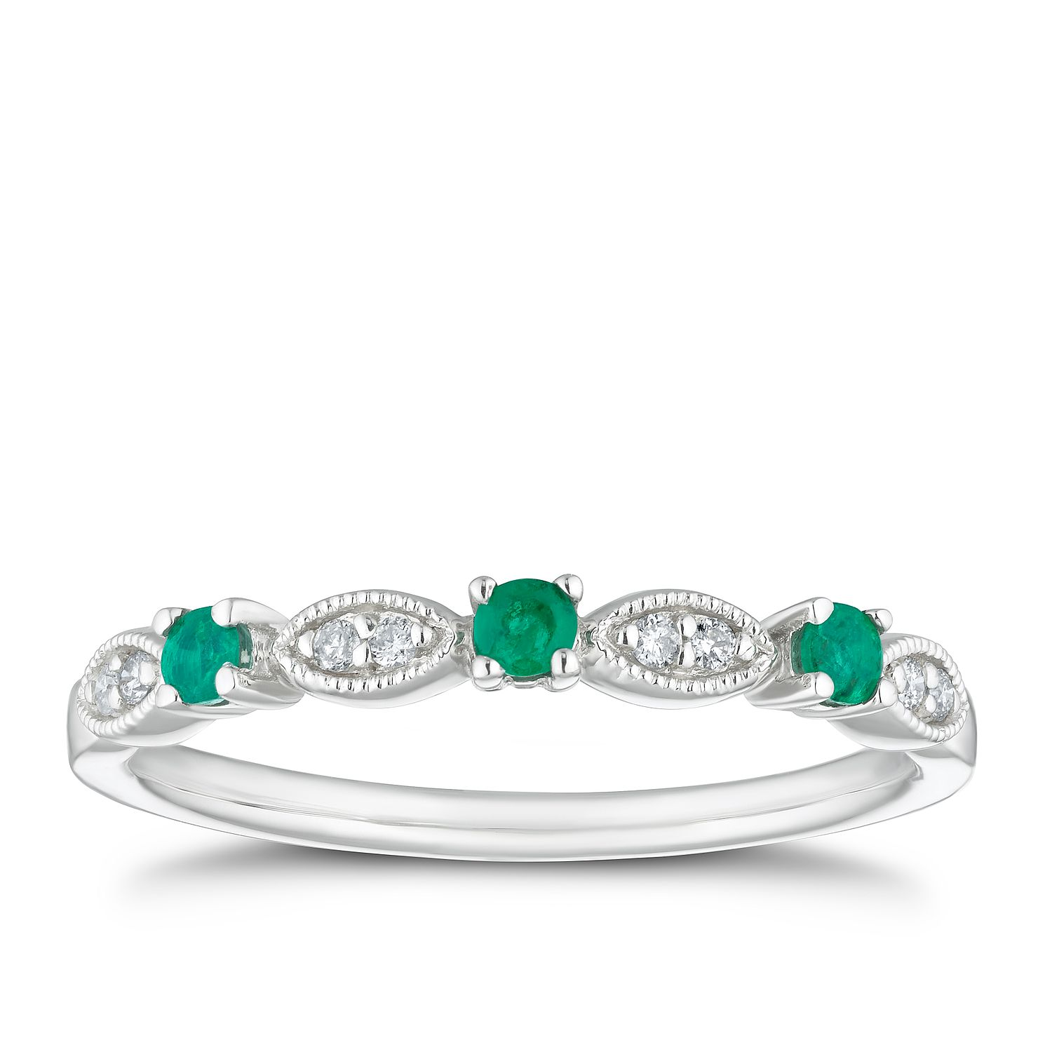 9ct White Gold Emerald & Diamond Eternity Ring - Product number 4126041