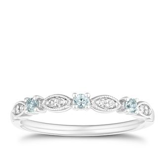 9ct White Gold Diamond & Aquamarine Eternity Ring - Product number 4126297