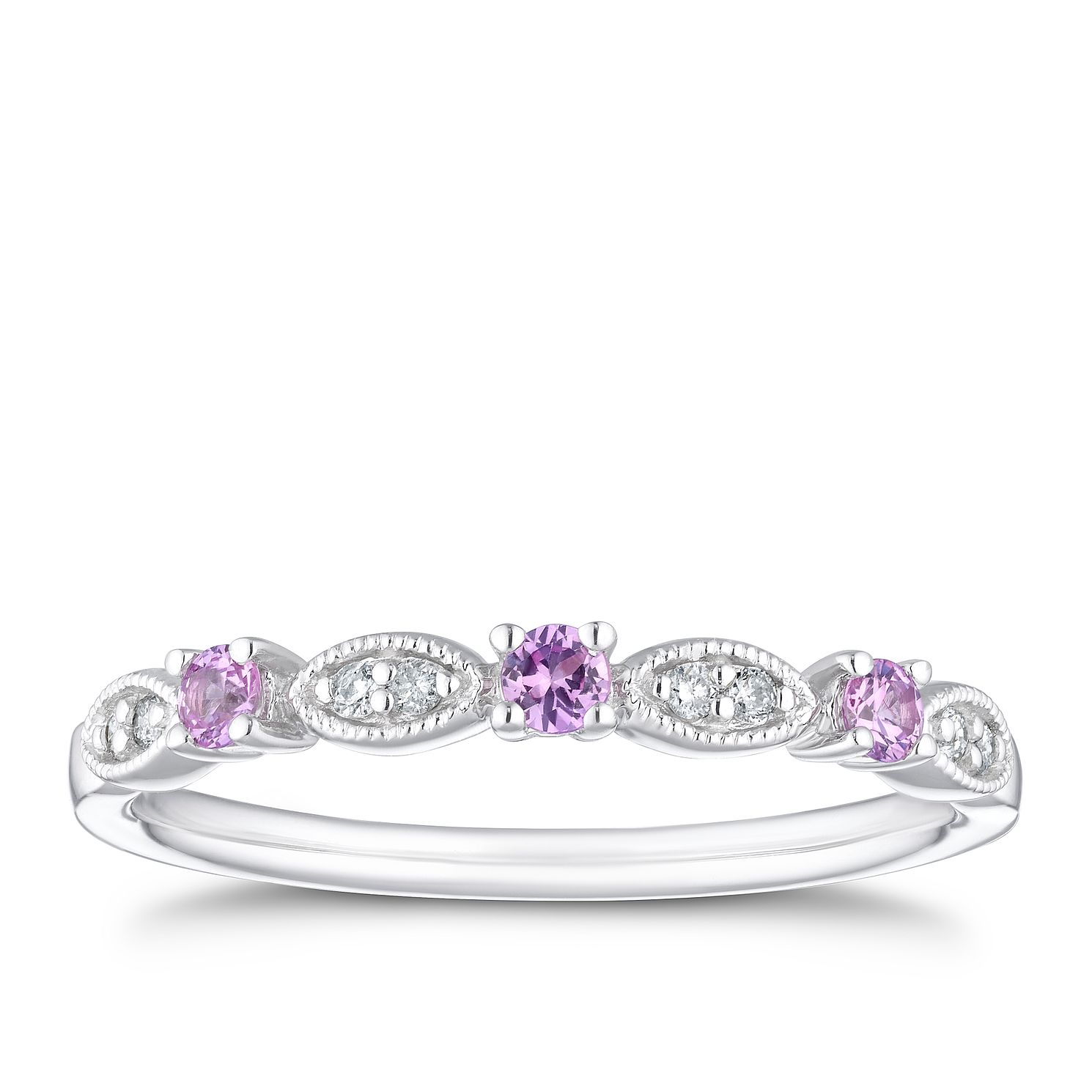 9ct White Gold Diamond & Pink Sapphire Eternity Ring - Product number 4126483