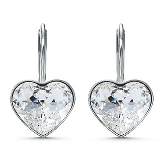 Swarovski Bella Heart Rhodium Plated Crystal Drop Earrings - Product number 4127005