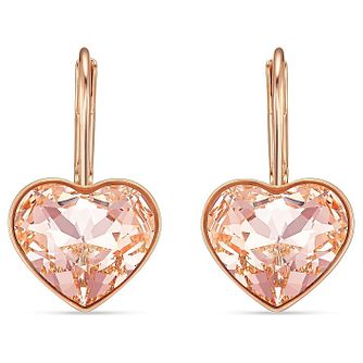 Swarovski Bella Heart Rose Gold Plated Crystal Drop Earrings - Product number 4127013