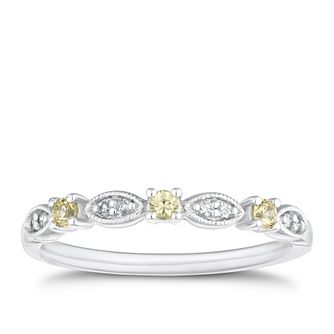 9ct White Gold Diamond & Yellow Sapphire Eternity Ring - Product number 4127080