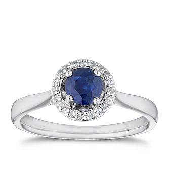 9ct White Gold Sapphire & Diamond Halo Ring - Product number 4127595