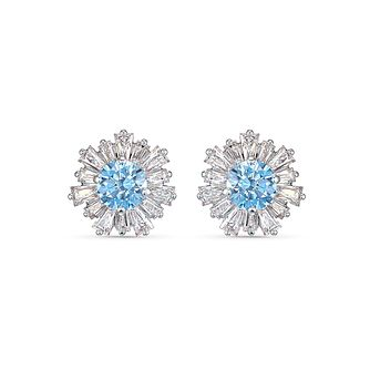 Swarovski Rhodium Plated Crystal Blue Sunshine Earrings - Product number 4127730