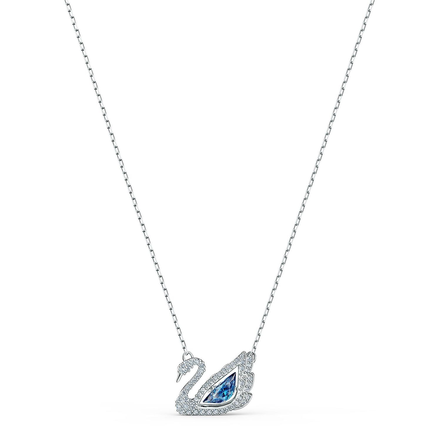 Swarovski Rhodium Plated Crystal Dancing Swan Pendant - Product number 4128257