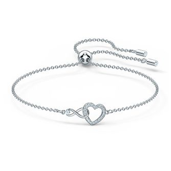 Swarovski Rhodium Plated Crystal Infinity Heart Bracelet - Product number 4128966