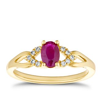 9ct Yellow Gold Ruby & Diamond Cut-Out Shoulders Ring - Product number 4129261