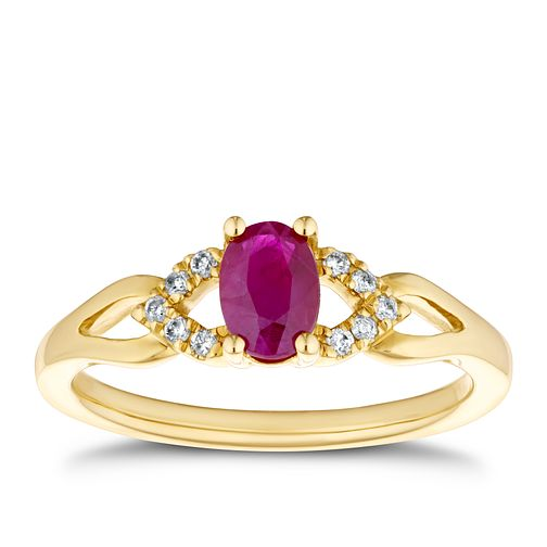 9ct Yellow Gold Diamond & Ruby Cut-Out Shoulders Ring - Product number 4129261