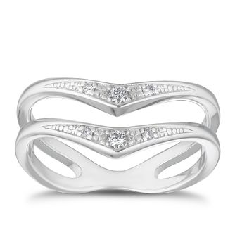 Sterling Silver Diamond Double Wishbone Ring - Product number 4129636