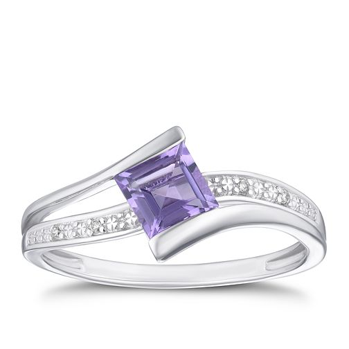 9ct White Gold Diamond & Amethyst Square Twist Ring - Product number 4130278