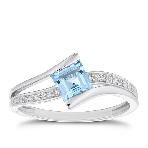 9ct White Gold Diamond & Blue Topaz Square Twist Ring - Product number 4130812