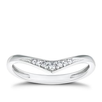 9ct White Gold Diamond Wishbone Ring - Product number 4131134