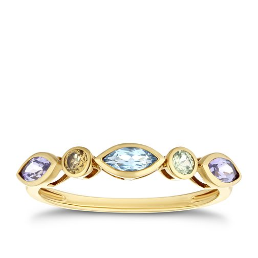 9ct Yellow Gold Multi Stone Eternity Ring - Product number 4131312
