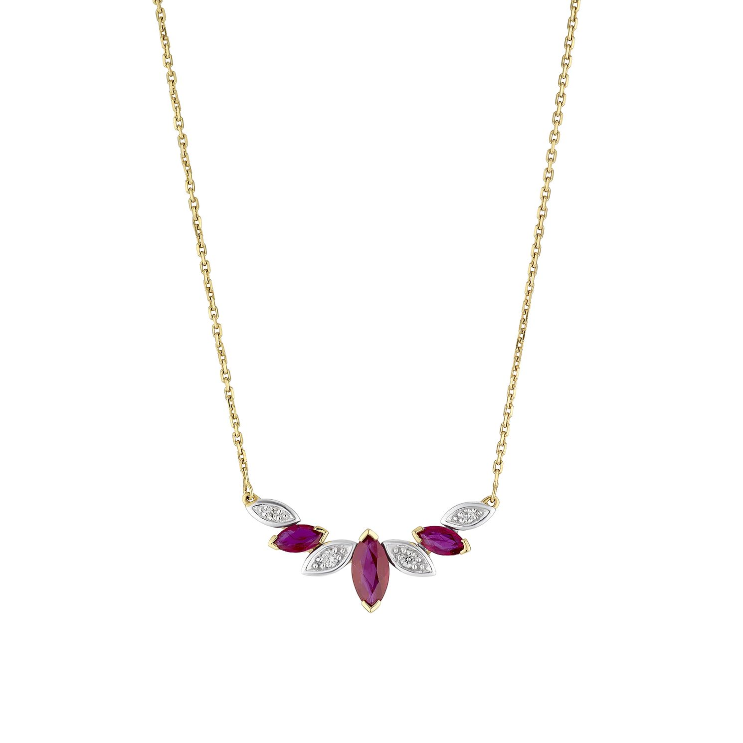 9ct Yellow Gold Diamond & Ruby Marquise Necklace - Product number 4131657