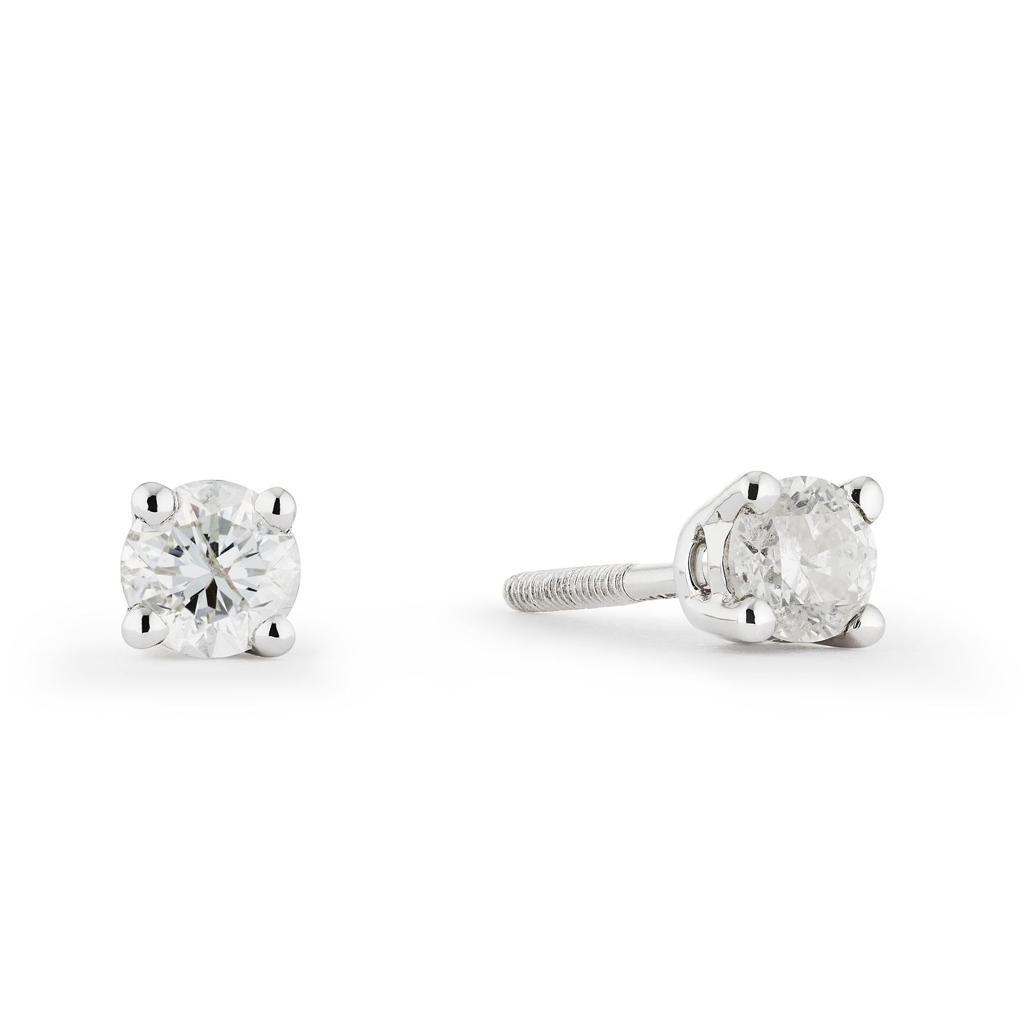 9ct White Gold 0.25ct Diamond Solitaire Stud Earrings - Product number 4131738