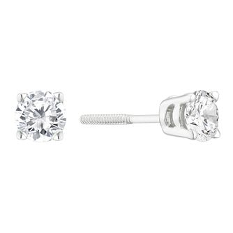 9ct White Gold 1/2ct Diamond Solitaire Stud Earrings - Product number 4131908