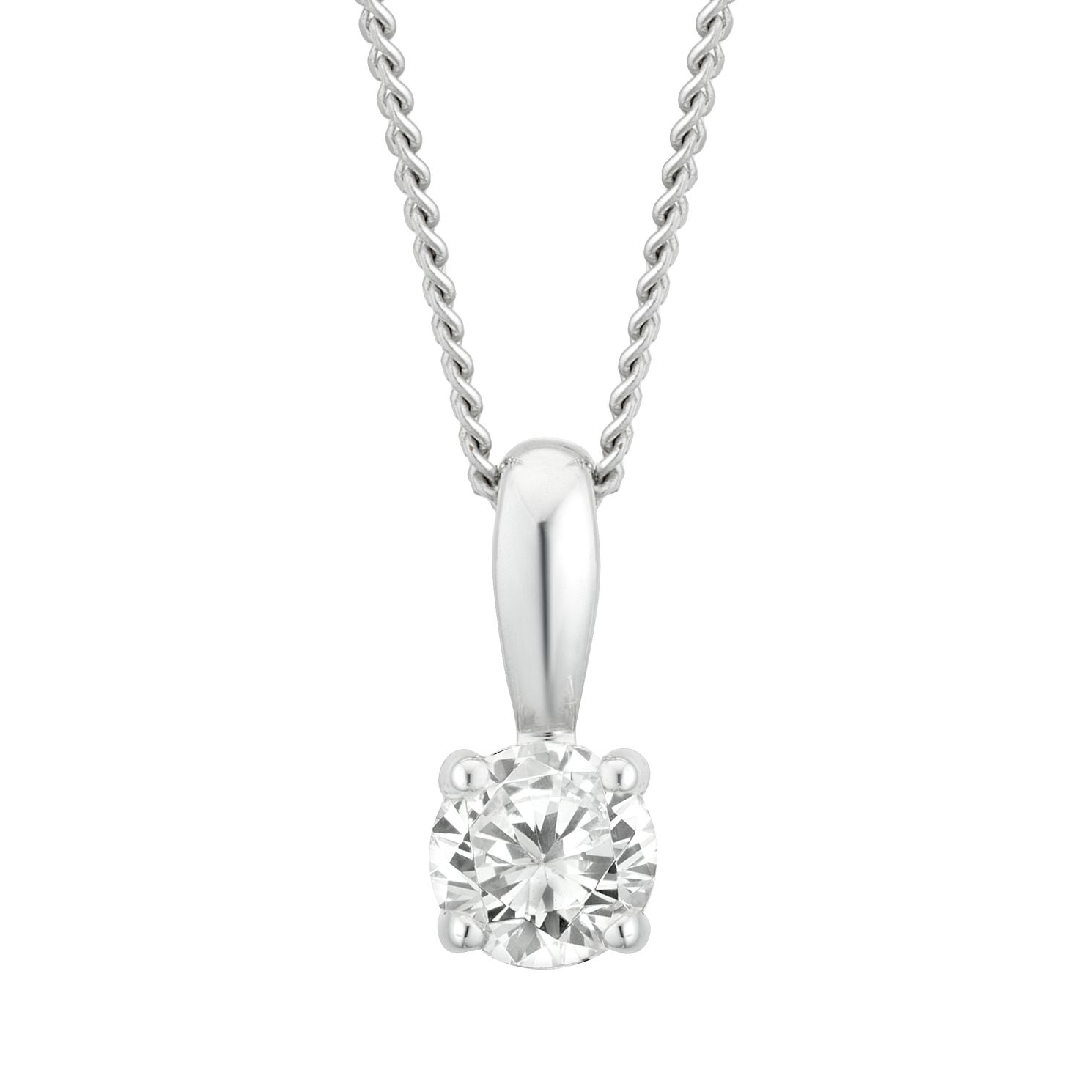 9ct White Gold 0.20ct Diamond Solitaire Pendant - Product number 4131916