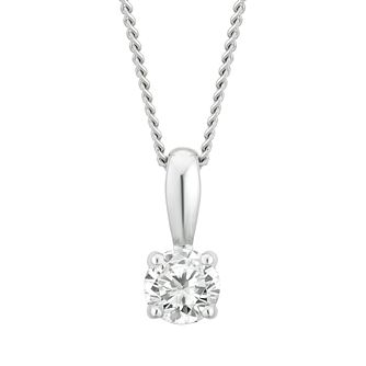 9ct White Gold 1/5ct Diamond Solitaire Pendant - Product number 4131916