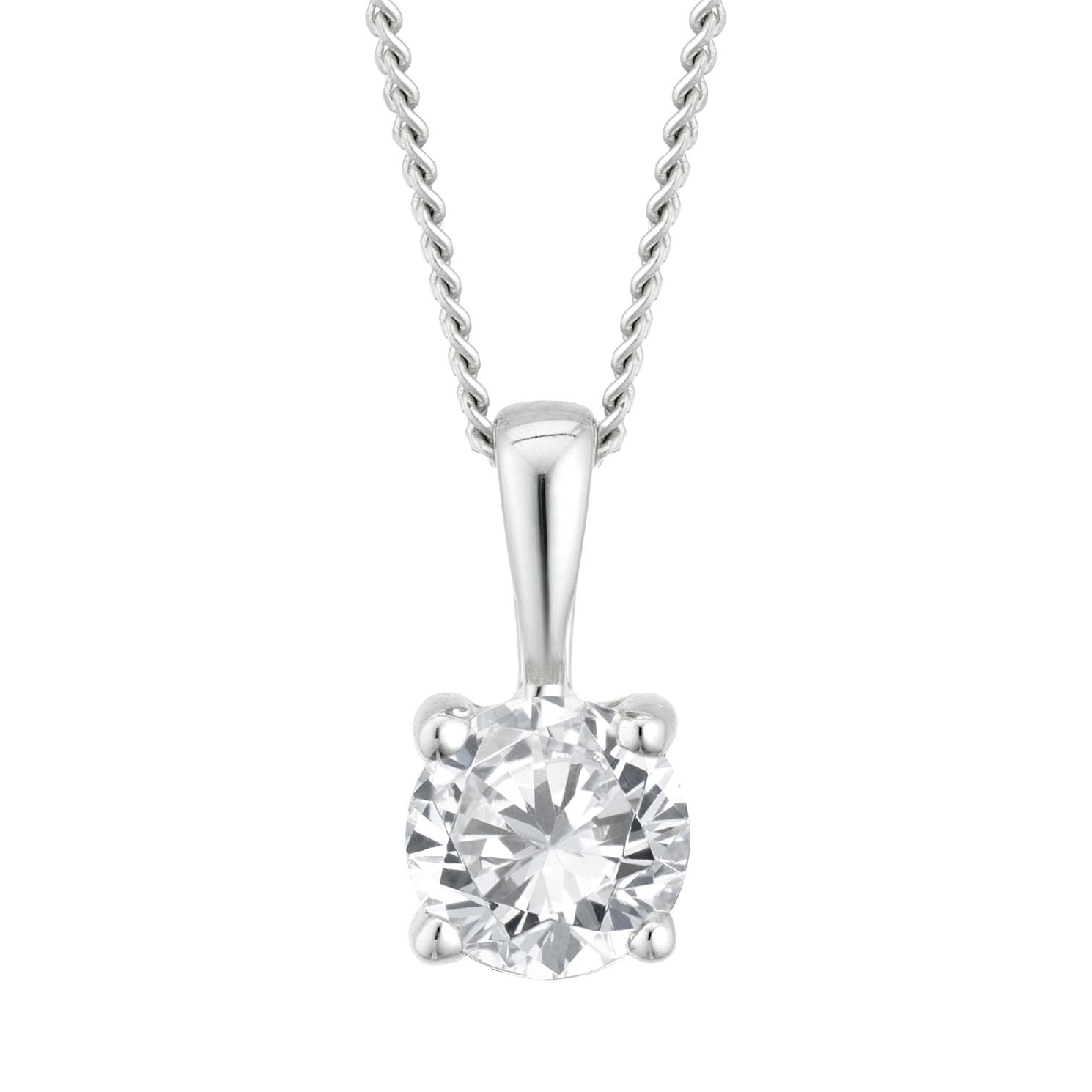 9ct White Gold 1/3ct Diamond Solitaire Pendant - Product number 4131924