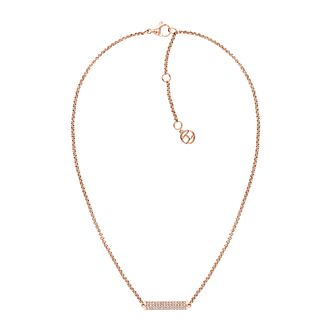 Tommy Hilfiger Rose Gold Plated Crystal Charm Necklace - Product number 4133218