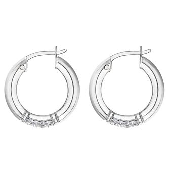 Tommy Hilfiger Silver Tone Crystal Creole Hoop Earrings - Product number 4133331