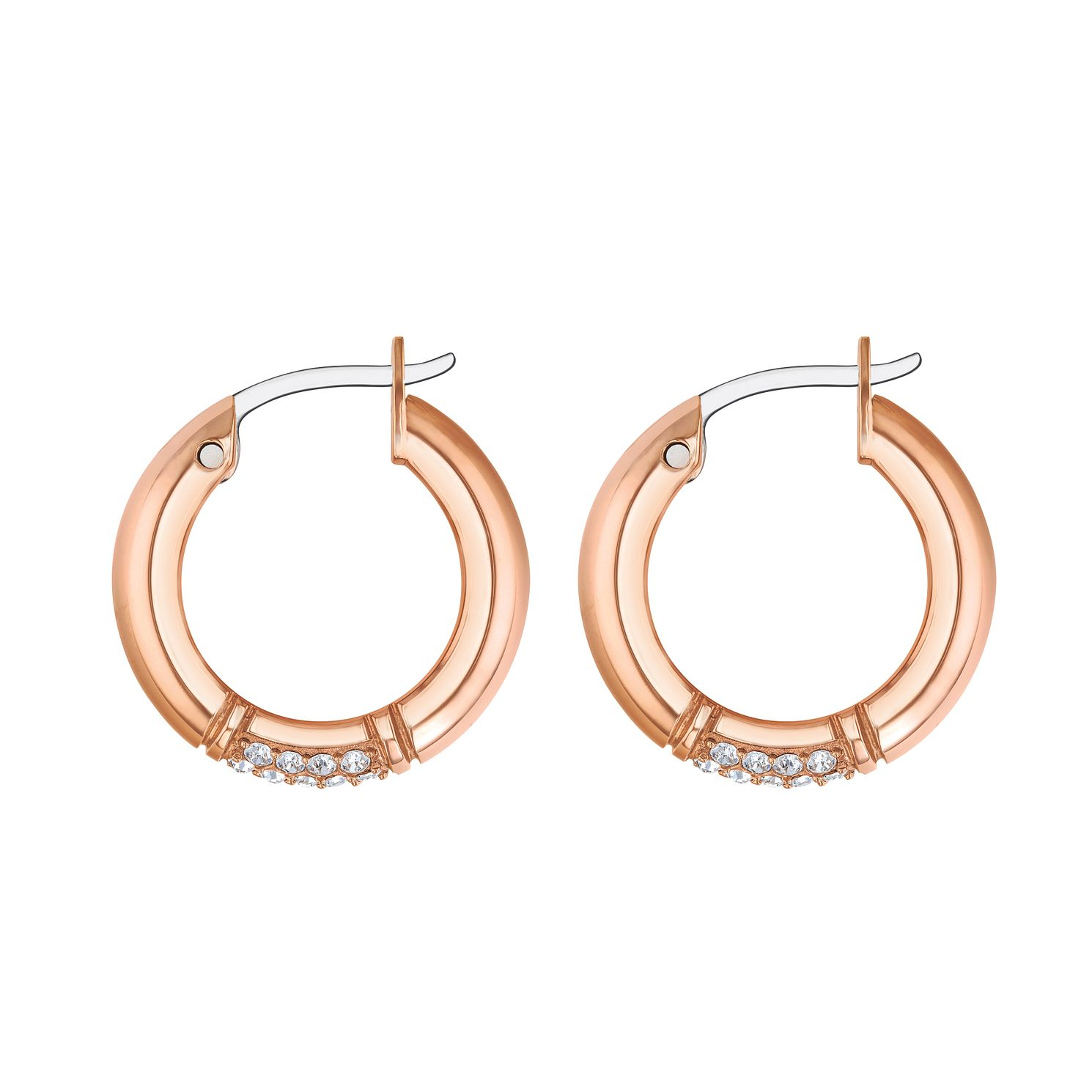 Tommy Hilfiger Rose Gold Tone Crystal Creole Hoop Earrings - Product number 4133366