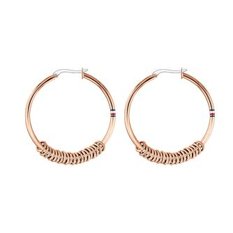 Tommy Hilfiger Rose Gold Tone Signature Hoop Earrings - Product number 4133382