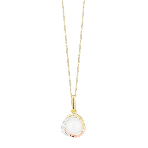 9ct Gold 3 Tone Cultured Freshwater Pearl Knot Pendant - Product number 4137582