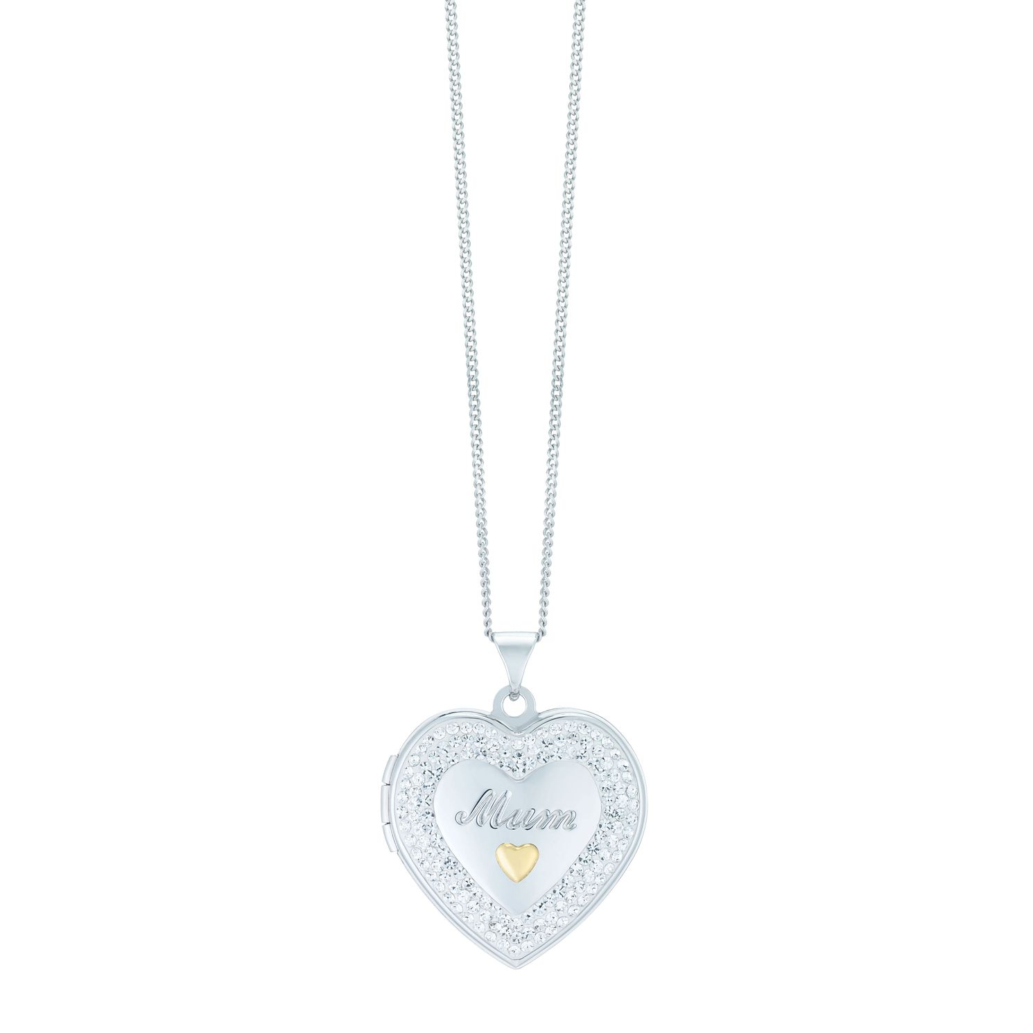 Sterling Silver & 9ct Gold Crystal Set Mum Heart Locket - Product number 4137809