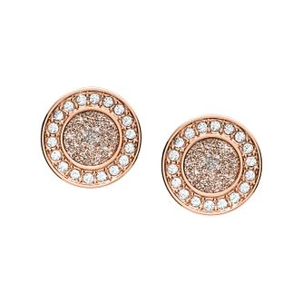 Fossil Rose Gold Tone Crystal Set Disc Stud Earrings - Product number 4138279