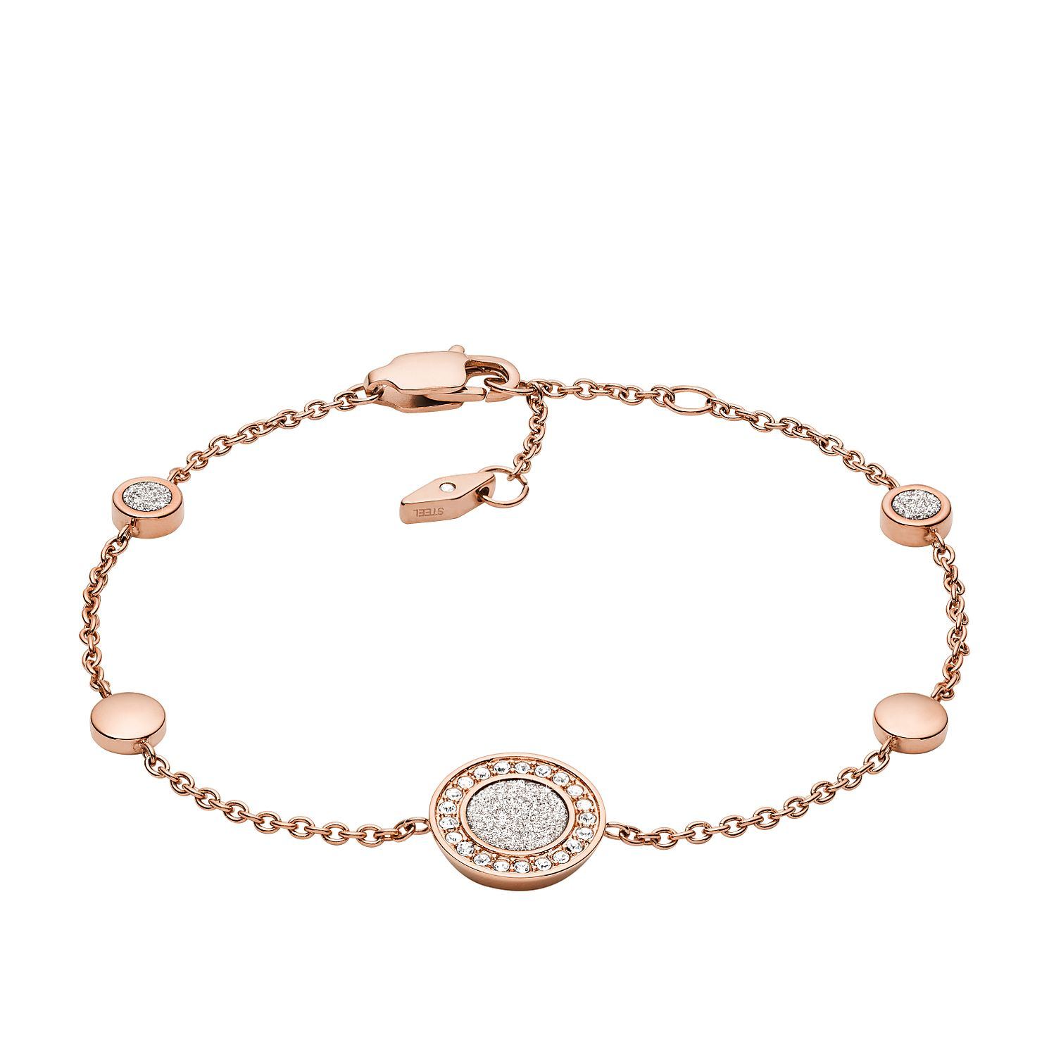 Fossil Rose Gold Tone Crystal Set Disc Bracelet - Product number 4138333