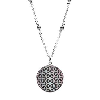 Fossil Stainless Steel & Hematite Disc Pendant - Product number 4138422