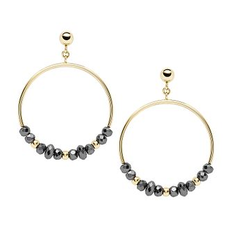 Fossil Gold Tone Hematite Bead Hoop Drop Earrings - Product number 4138430