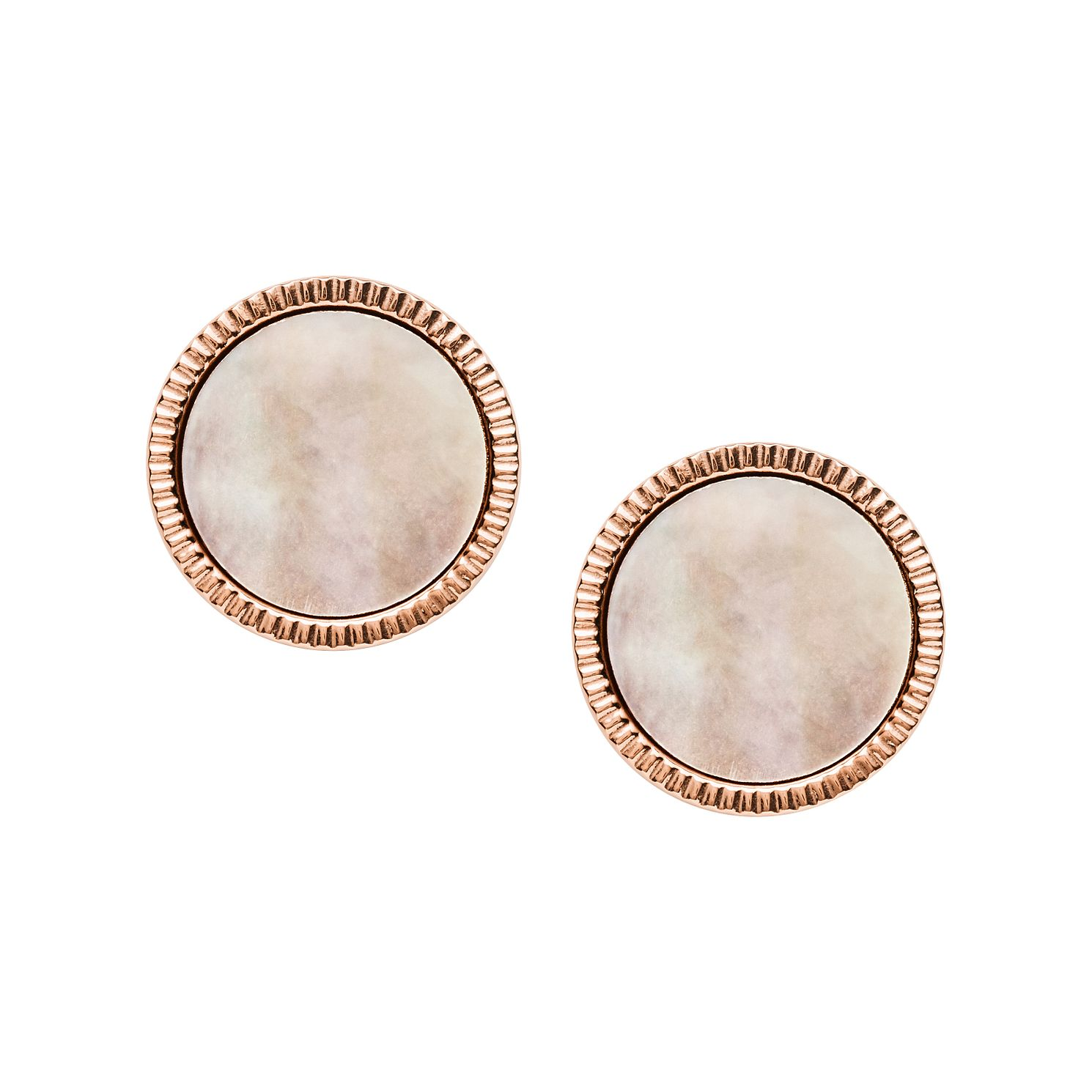 Fossil Rose Gold Tone Mother Of Pearl Disc Stud Earrings - Product number 4139399