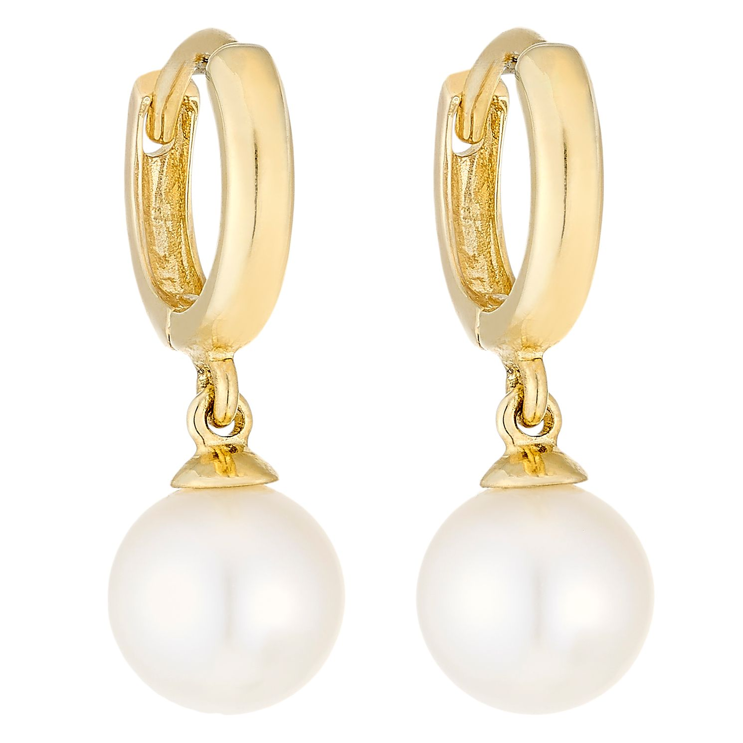 9ct Yellow Gold Cultured Fresh Water Pearl 7mm Hoop Earrings - Product number 4139739