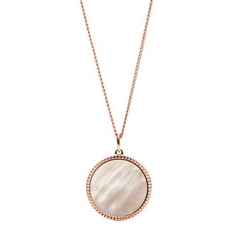 Fossil Rose Gold Tone Mother Of Pearl Disc Pendant - Product number 4139798