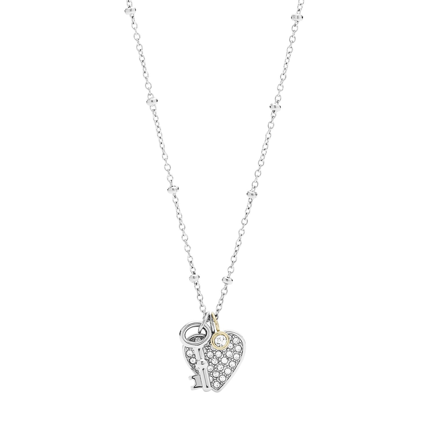 Fossil Stainless Steel Crystal Set Heart & Key Pendant - Product number 4139976