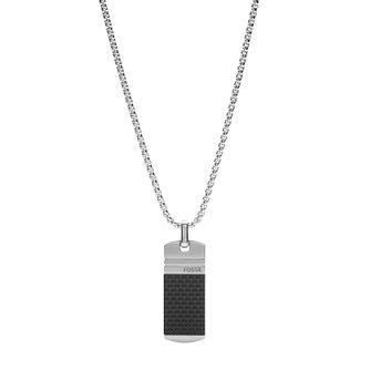 Fossil Men's Stainless Steel Black Mini Tag Pendant - Product number 4140605