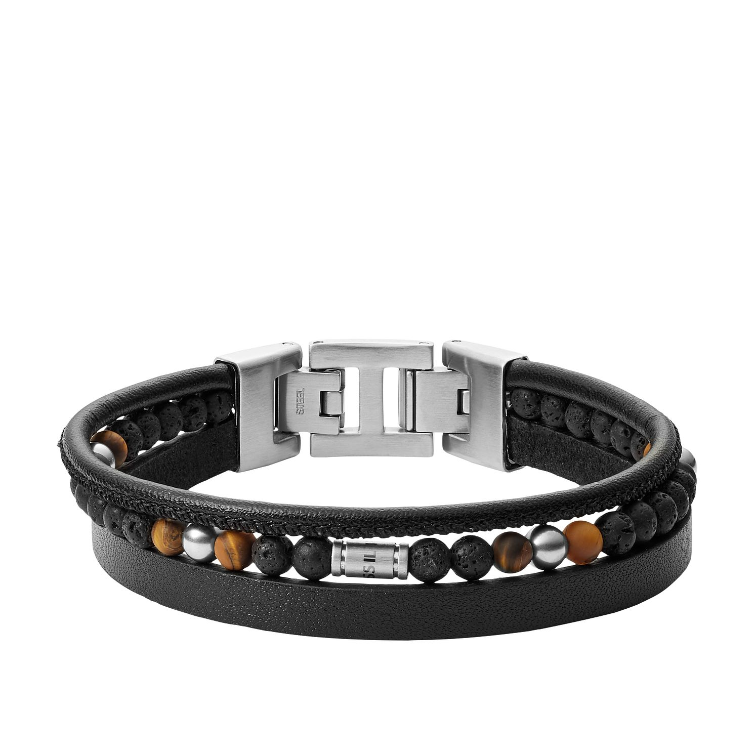 Fossil Men's 3 Strand Beaded Black Leather Bracelet - Product number 4140702