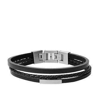 Fossil Men's 3 Strand Black Leather Bracelet - Product number 4140729