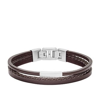 Fossil Men's 3 Strand Braided Brown Leather Bracelet - Product number 4140753