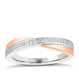 9ct Rose And White Gold Diamond Crossover Ring - Product number 4143205