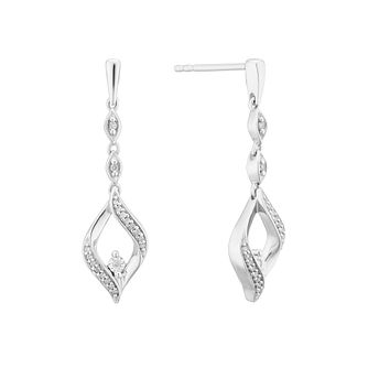 Sterling Silver Diamond Fancy Open Drop Earrings - Product number 4144570