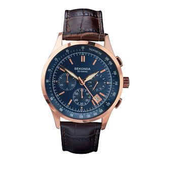 Sekonda Men's Blue Dial Brown Leather Strap Watch - Product number 4146093