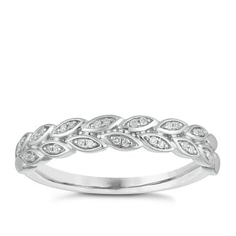 9ct White Gold Diamond Leaf Wedding Ring - Product number 4146840