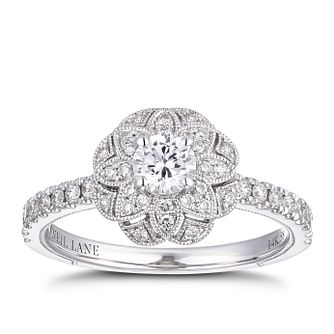 Neil Lane 14ct White Gold 0.58ct Diamond Flower Halo Ring - Product number 4150120
