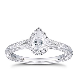 Neil Lane 14ct White Gold 2/5ct Pear Diamond Halo Ring - Product number 4150414