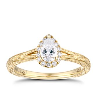 Neil Lane 14ct Yellow Gold 2/5ct Pear Diamond Halo Ring - Product number 4150589